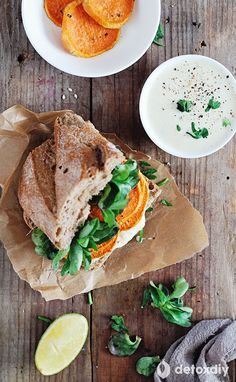Get the nutritional benefit of sweet potatoes in this sweet potato sandwich with vegan tazatziki sauce. It's loaded with antioxidants, fiber, potassium, and beta-Carotene to support your detox.