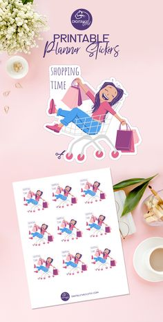For shopping lovers out there! :) Either you are planning to go grocery shopping or to buy some new dresses, this sticker will look great in your planner. #shoppingstickers #plannerstickers #groceryshopping #shoppingcart #shoppingbags #plannergirl #decorativestickers #digitalstickers #goodnotesstickers #erincondren #lifeplanner #onlineshopping #character #printablestickers