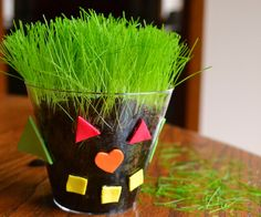 A cup of spring! Plant seeds to make a grass buddy. #spring #preschool