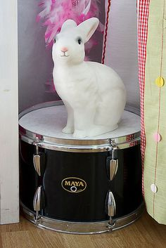 Bunny lamp on a drum