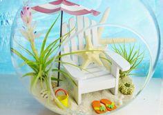 Day at the Beach Terrarium  Beach Umbrella by BeachCottageBoutique, $55.00