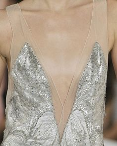 Silver & sheer nude dress with delicate beadwork - beautifully feminine fashion details // Ralph Lauren