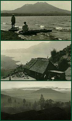 Panorama Gunung Batur dan Danau Batur sekitar th 1930