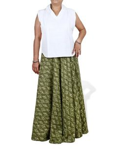 Gypsy Skirt in Plus Size Green cotton with block print summer dresses for women: XL: Amazon.de: Clothing