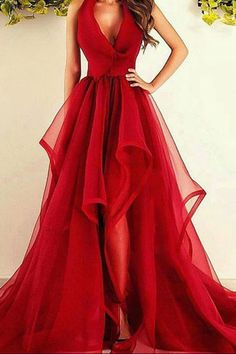 Elegant red organza long A-line ruffles prom dress, homecoming dress
