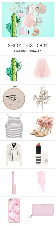 """What doesn't kill you makes you stronger"" by sillytan ❤ liked on Polyvore featuring Topshop, Rupert Sanderson, Yves Saint Laurent, AERIN, Casetify, Kate Spade, Summer, Spring, Pink and pastel"