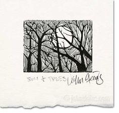 Wood Engraving Print ~ Sun and Trees ~ John Steins Print Gallery