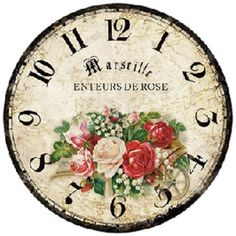 DECOPAULA Clock Craft, Diy Clock, Clock Ideas, Shabby Vintage, Vintage Walls, Blank Clock Faces, Clock Face Printable, Shabby Chic Clock, Paper Napkins For Decoupage