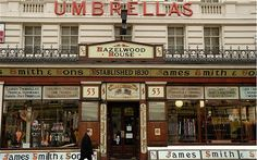 London's top shops: James Smith & Sons umbrella shop....I love to collect beautiful umbrella's - this place is a must...even if only to wander through.