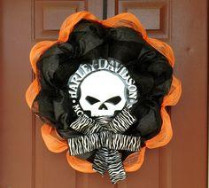 Harley Davidson Deco Mesh Wreath