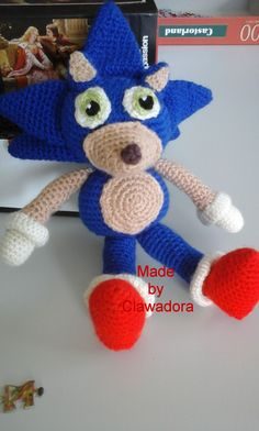 This is the latest of the plushies I've been working on. Sonic came out better than I had thought it would at first, and for *once*. Plushies, Crochet Hats, Toys, Tutorials, Photo Illustration, Knitting Hats, Activity Toys, Toy, Stuffed Animals