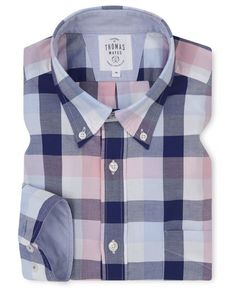 Pink Blue Block Check Oxford Relaxed Fit Casual Shirt