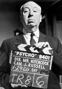 Alfred Hitchcock on the set of Psycho',1960