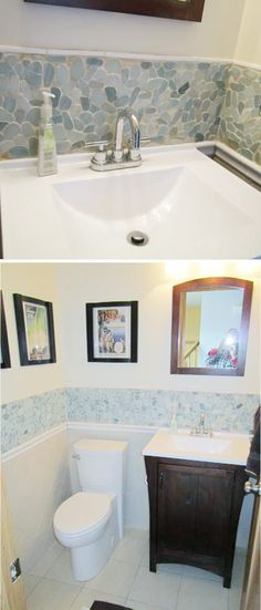 Bathroom decor modern bathroom design wallpaper The Solistone River Rock looks gorgeous in this small bathroom! Bathroom Decorating Be. Bathroom Renos, Bathroom Renovations, Bathroom Interior, Home Renovation, Small Bathroom, Bathroom Ideas, Bathroom Makeovers, Bath Ideas, Master Bathroom