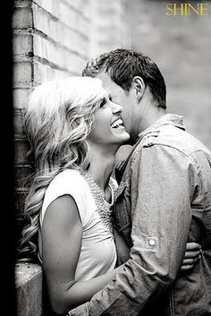 Have the guy whisper something in her ear that will make her laugh to get this great shot!