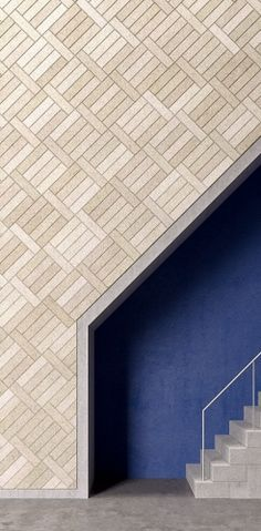 BAUX Natural Plank cladding, recessed stair in contrasting blue Interior Stairs, Interior And Exterior, Interior Design, Luxury Interior, Modern Interior, Acoustic Wall, Acoustic Panels, Architecture Details, Interior Architecture