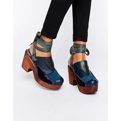 Free People Into the Patchwork Navy Denim Clog (£210) ❤ liked on Polyvore featuring shoes, clogs, navy, navy blue shoes, high heeled footwear, high heel clogs, patchwork shoes and free people shoes