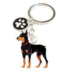 Novelty Jewelry PET Key Chain Doberman Pinscher Dog Key rings Christmas Gifts Dog Metal Charm Key Chains for Lovers best Friend