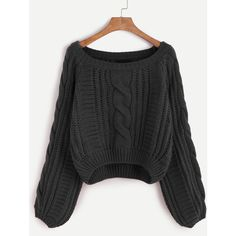 SheIn(sheinside) Black Raglan Sleeve Cable Knit Sweater (345 ZAR) ❤ liked on Polyvore featuring tops, sweaters, black, cable pullover, cable knit pullover sweater, sweater pullover, acrylic sweater and pullover sweater
