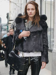 charcoal cropped fur and front zip leather legs / #streetstyle / #MIZUstyle