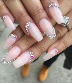 acrylic gel nail polish designs   pink   ombre   white   coffin   #rhinestones   jewels   gems   #diamonds