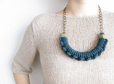 Hey, I found this really awesome Etsy listing at https://www.etsy.com/listing/192889258/blue-green-rope-necklace-nautical-knot