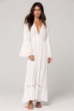 Long White Dress Boho, White Lace Maxi Dress, Maxi Wrap Dress, Long Sleeve Flowy Dresses, Duster Dress, Velvet Slip Dress, Wedding Dress, Wedding Bells, Wedding Ring