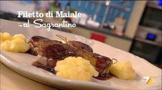 Le ricette:.Filetto di Maiale al Sagrantino, torta all'arancia, passata di piselli,penne fagioli e aceto balsamico