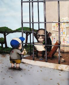 French artist Dran with black humor in his drawings ridiculed contemporary culture and lifestyle.: Art
