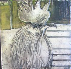Poultry portrait VI 200x200mm encaustic on board