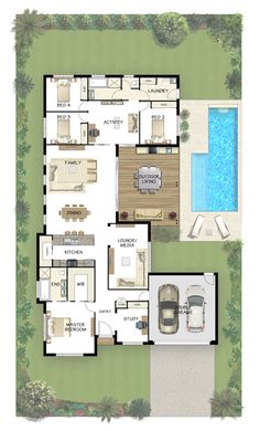Coral Homes :: Stradbroke Series features My favorite floor plan so far. House Plans One Story, Dream House Plans, Modern House Plans, Small House Plans, House Floor Plans, My Dream Home, U Shaped House Plans, The Plan, How To Plan