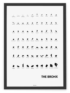 'Neighborhoods of The Bronx' Eye Chart Print | Blue is the Land