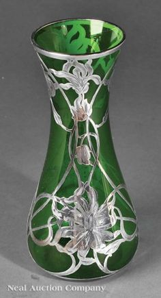 Art Nouveau Green Glass and Silver Overlay Vase
