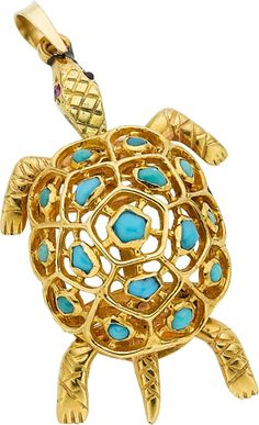 A TURQUOISE, GOLD PENDANT, BOUCHERON, PARIS The articulated pendant features turquoise cabochons, set in 18k gold, marked Boucheron, Paris.