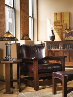 Stickley Quick Design Tip: Space Sanctuary  Easily transform any room in your house into a peaceful sanctuary just by adding a chair or recliner that allows you a place devoted to relaxation. A chic leather chair is not just a place to sit, but somewhere to read or daydream without sacrificing space and all while adding to your décor.  Shown here: The Eastwood Chair
