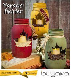 Boş cam kavanozlarınızı istediğiniz yaprak deseniyle boyayarak dekoratif şık mumluklar yapabilirsiniz. :)