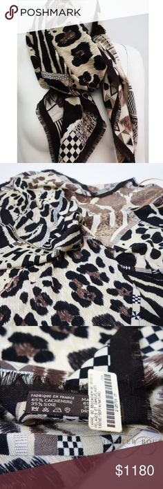 """Hermes Cashmere&Silk Scarf Beautiful and Elegance 100% Hermes """" Pelages et Camouflage""""  Cashmere and Silk Shawl 65% Cashmere 35% silk  beautiful and elegance super soft and warm Hermes Accessories Scarves & Wraps"""