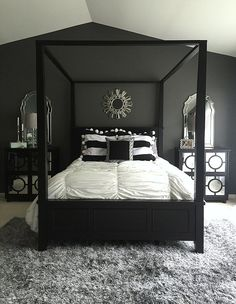 Bedroom Decor Black home goods played a huge roll in this master bedroom redo! cozy