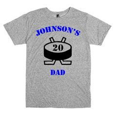 Hockey mom shirt. Personalized t-shirt in white or gray.