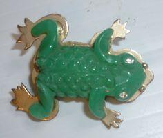 Vintage French Bakelite Frog Jewelry Pin. via Etsy.