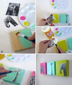 DIY nursery art - tutorial uses wood blocks, but could also use canvas Diy Nursery Decor, Nursery Art, Wall Decor, Diy Room Decor For Girls, Diy And Crafts, Crafts For Kids, Arts And Crafts, Decor Crafts, Wood Crafts