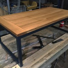 coffee table oak wood and steel in anthracite grey