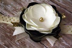 black, ivory, gold flower headband   Starry Night  Headband or Hairclip by joellegfritz on Etsy
