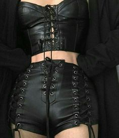 Gothic fashion 751256781578867409 - Gothic-Inspired Black Leather Lace-Up Corset & Shorts Gothic-Inspire… Source by Image Fashion, Dark Fashion, Grunge Fashion, Gothic Fashion, Leather Fashion, Grunge Outfits, Fashion Outfits, Womens Fashion, Gothic Outfits