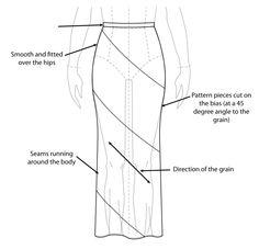 draft a pattern for v-yoke, bias-cut skirt Flat Drawings, Flat Sketches, Dress Sketches, Bias Cut Dress, Dress Cuts, Croquis Fashion, Fashion Sketches, Vintage Dress Patterns, Clothing Patterns