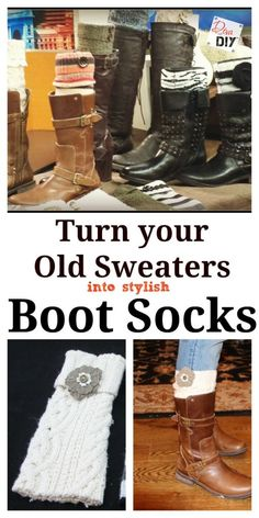 Love the look of boot socks but not the bulk or expense? These DIY no sew boot socks are the perfect solution! Grab some old sweaters and get started! Old Sweater, Sweater Boots, Diy Clothes Refashion, Diy Clothing, Boot Cuffs, Boot Socks, Ropa Upcycling, Alter Pullover, Diy Fashion Accessories