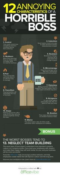 12 Characteristics Of A Horrible Boss (Infographic)--this insightful graphic actually spreads across relational boundaries. 12 characteristics of a horrible leader or influencer, no matter what the relationship.