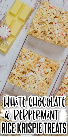 If you love Rice Krispie treats you are going to love these White Chocolate and Peppermint Rice Krispie Treats! They are crunchy, chewy, sweet, and delicious with the added flavor of peppermint and creaminess of white chocolate! Delicious Cookie Recipes, Yummy Cookies, Bar Recipes, Family Recipes, White Chocolate Chips, Chocolate Chip Cookies, Rice Krispie Treats Variations, Winter Treats, Peanut Butter Cookies