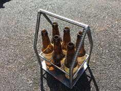 Industrial welded Rebar steel beer caddy brew tote carrier for your favorite craft beer
