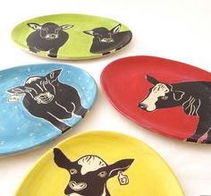 Bossy Red Cow Plate by pumphousestudios on Etsy
